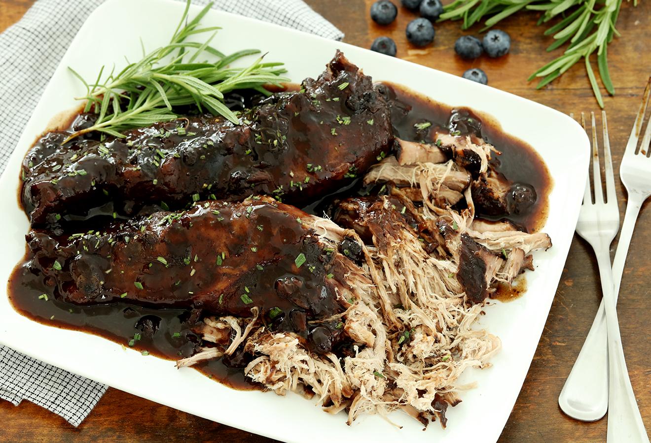 Slow Cooker Blueberry Balsamic Pork Tenderloin