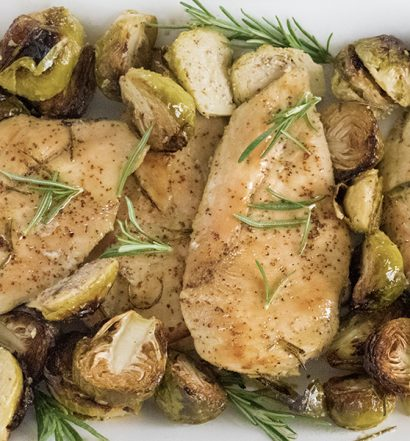 mustard chicken and brussel sprouts