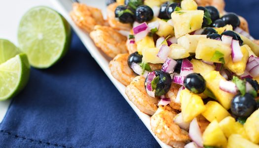 Grilled Shrimp Tacos with Blueberry Pineapple Salsa