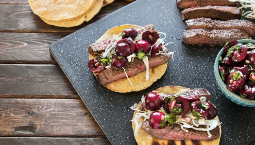 Chipotle Cherry Steak Tacos