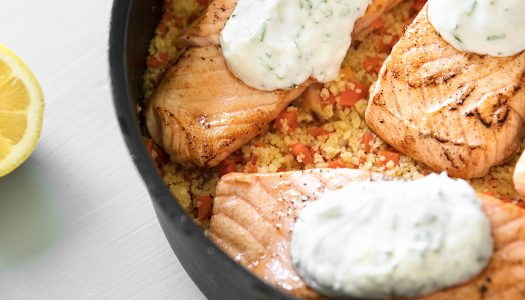 White Wine Salmon and Couscous