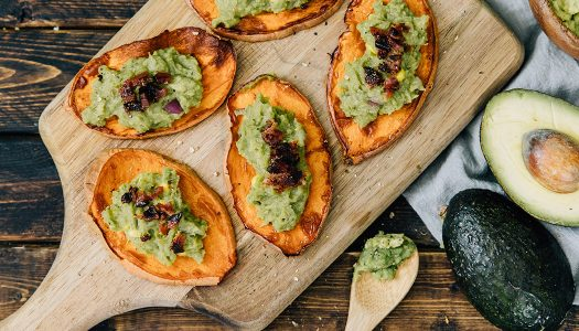 Sweet Potato Guacamole Crostini