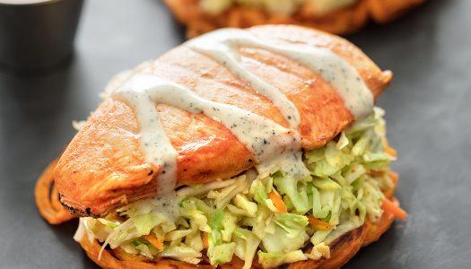 Whole30® Open-faced Buffalo Chicken Sandwiches