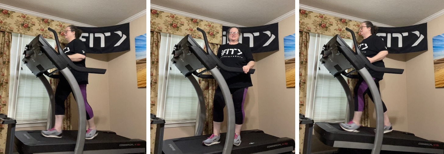 iFIT Member Tonya Bowie works out on her treadmill