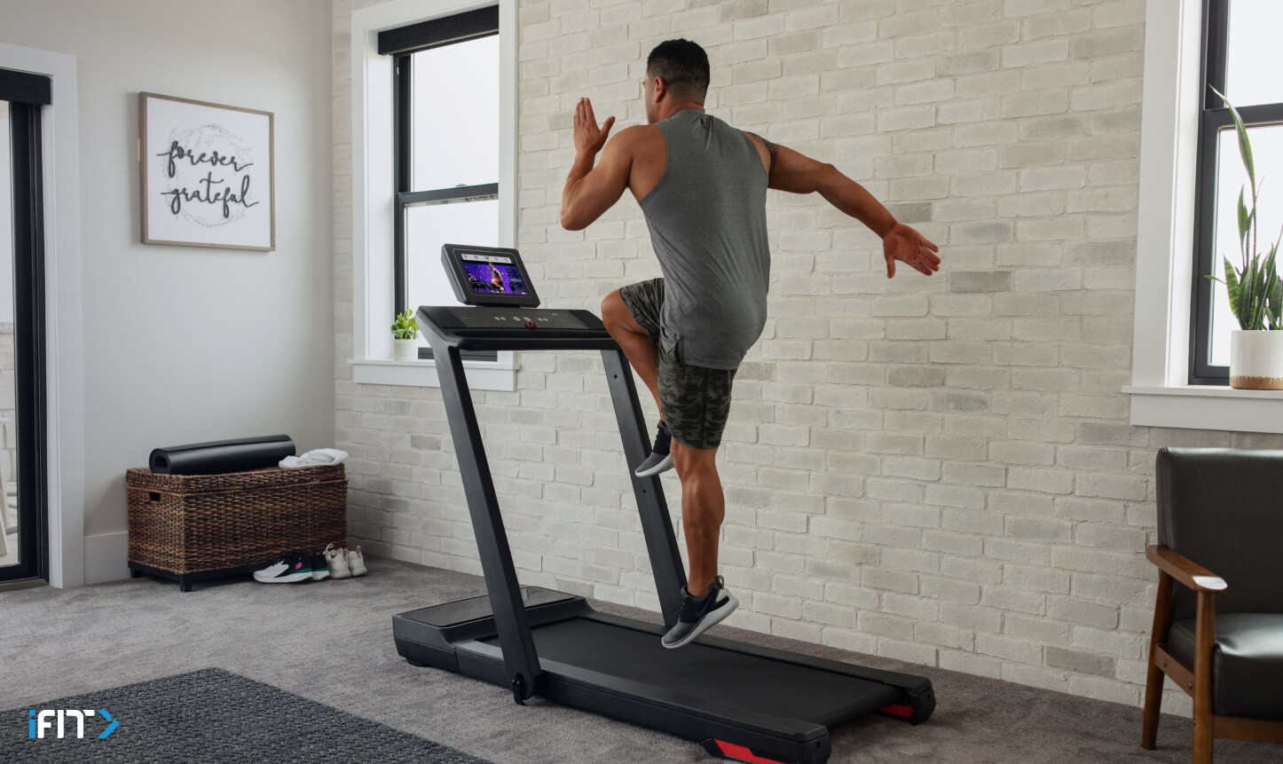Man completes an iFIT HIIT exercise