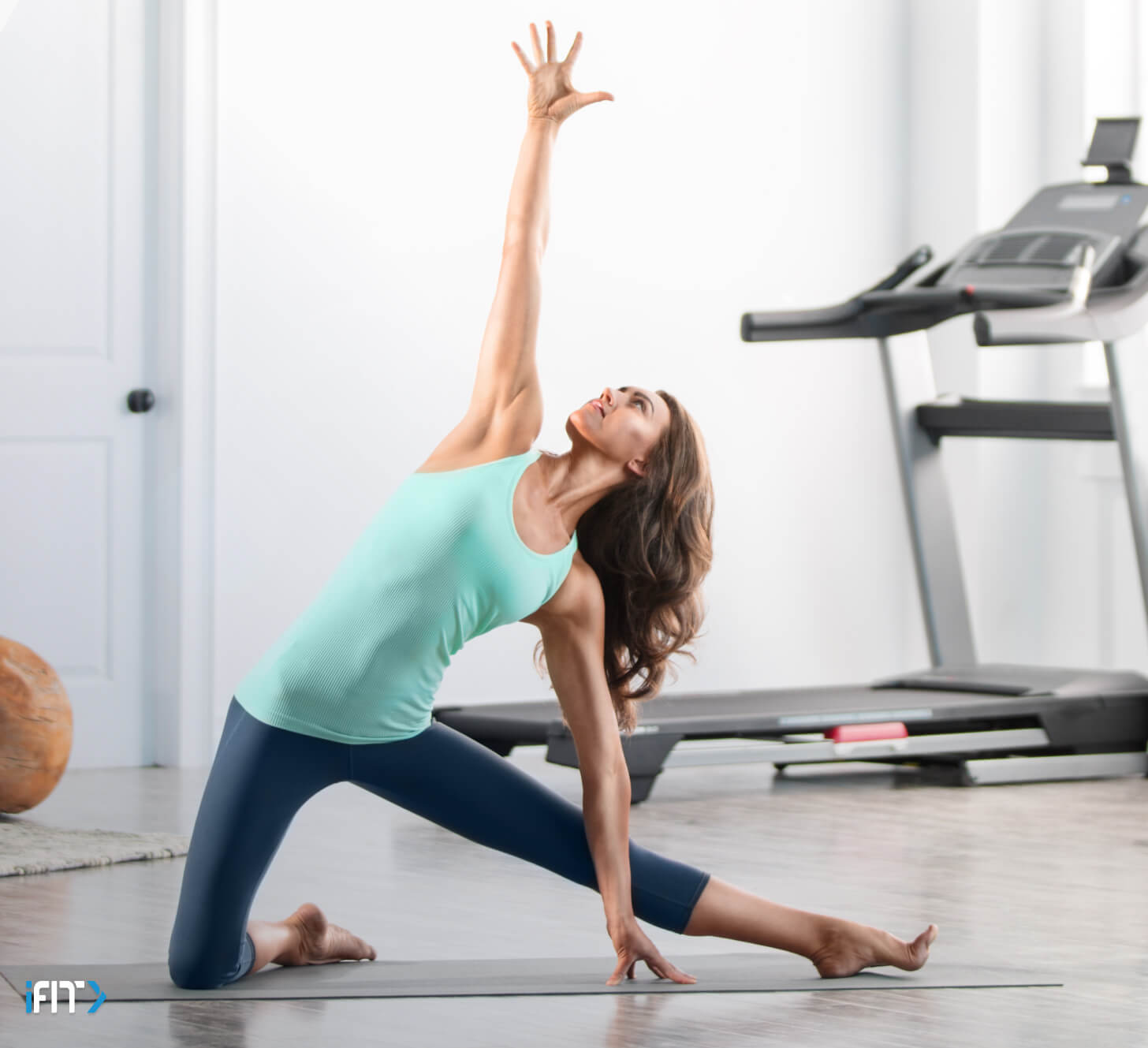 Woman does an iFIT mindfulness class