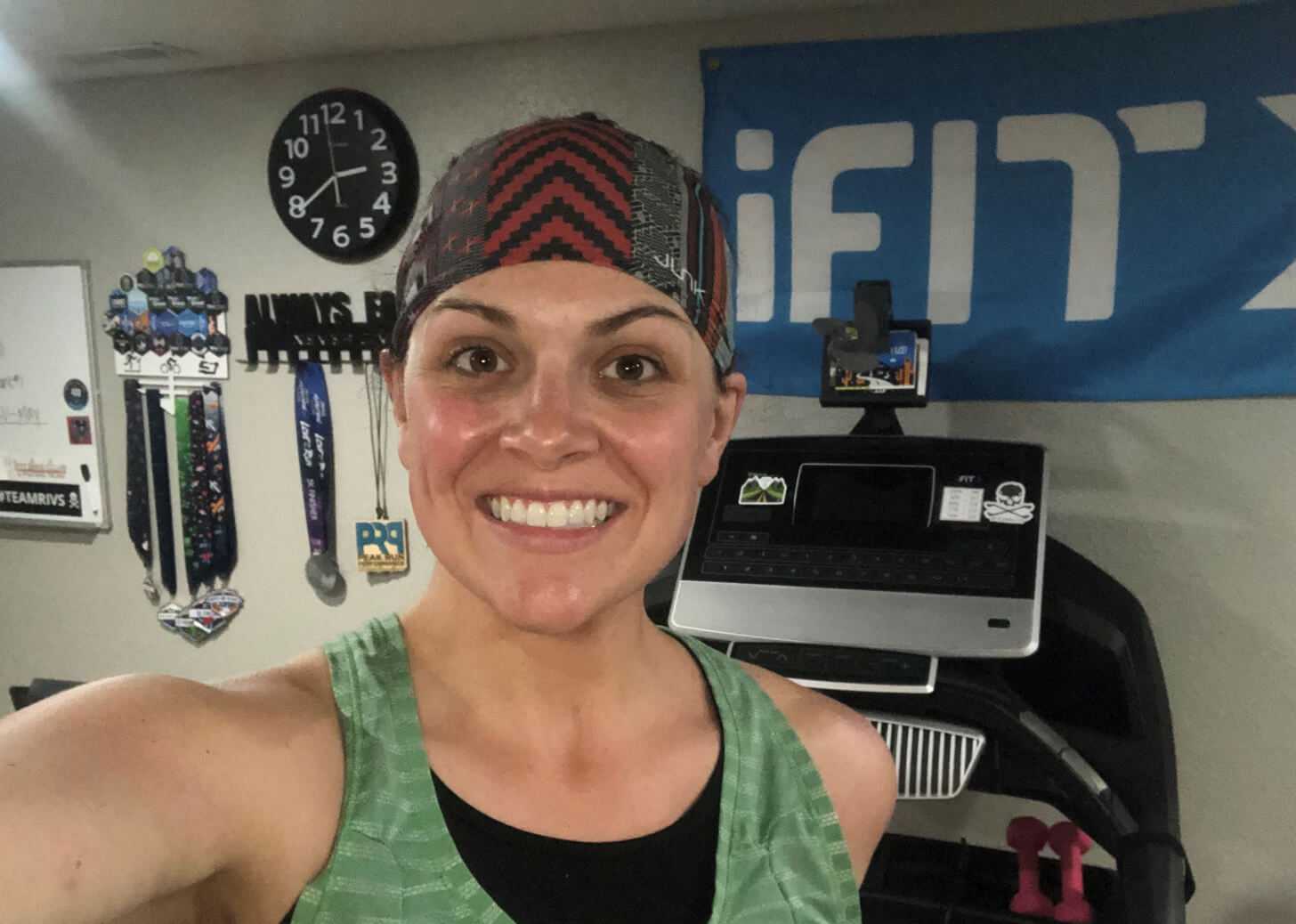 iFIT Member Amanda Hoffer does a treadmill workout