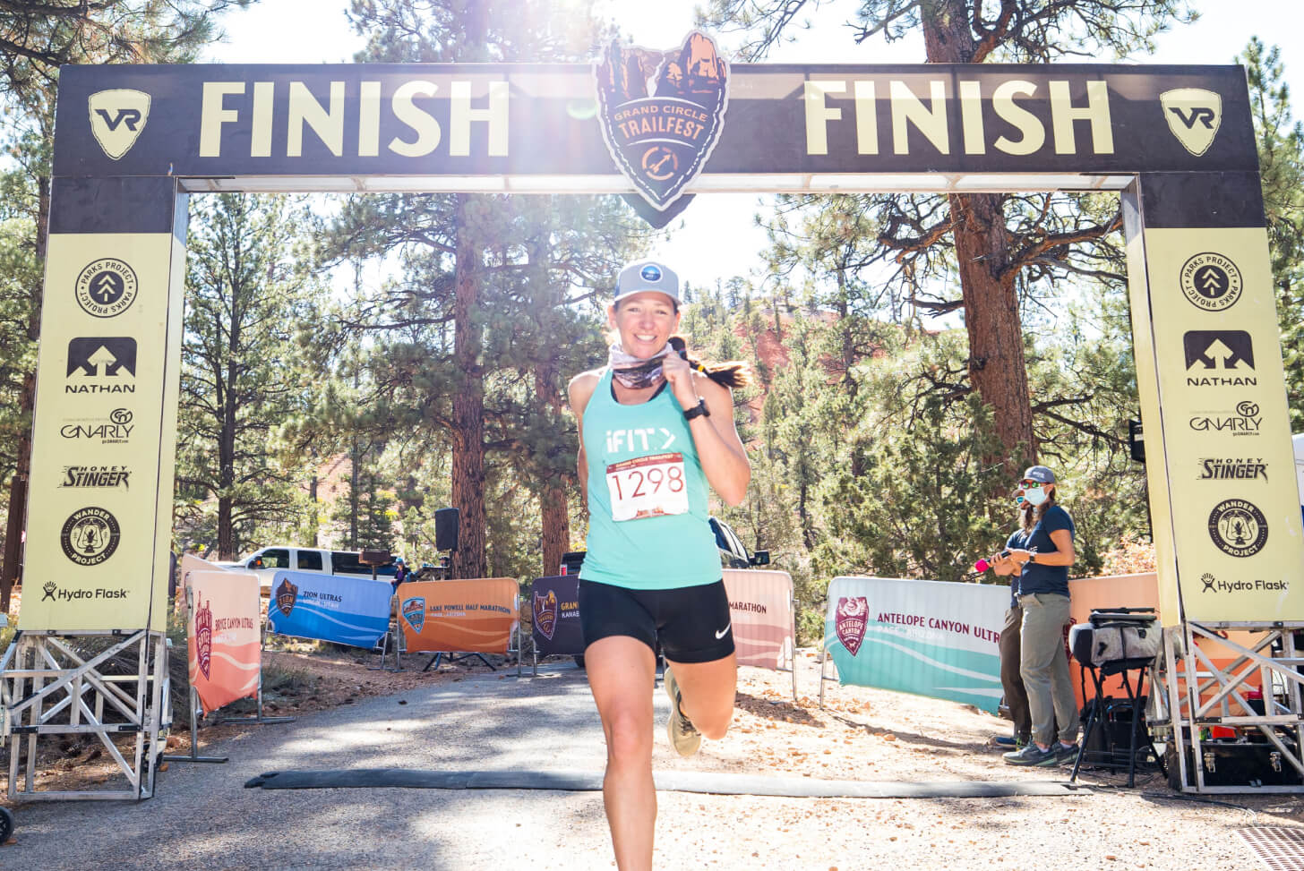 iFIT Trainer Sally McRae coaches a running workout