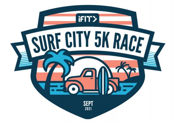 iFIT Live Surf City 5K Race medal